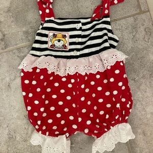 Vintage Patty Cakes Brand red & BLK Bloomer 24 mo